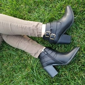 Shoes - 2/$50 Pointed Toe Black Ankle  Booties W/ Buckles